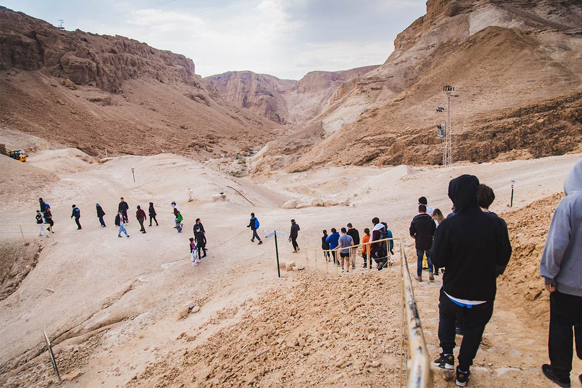 Participants hiking during winter on Birthright Israel