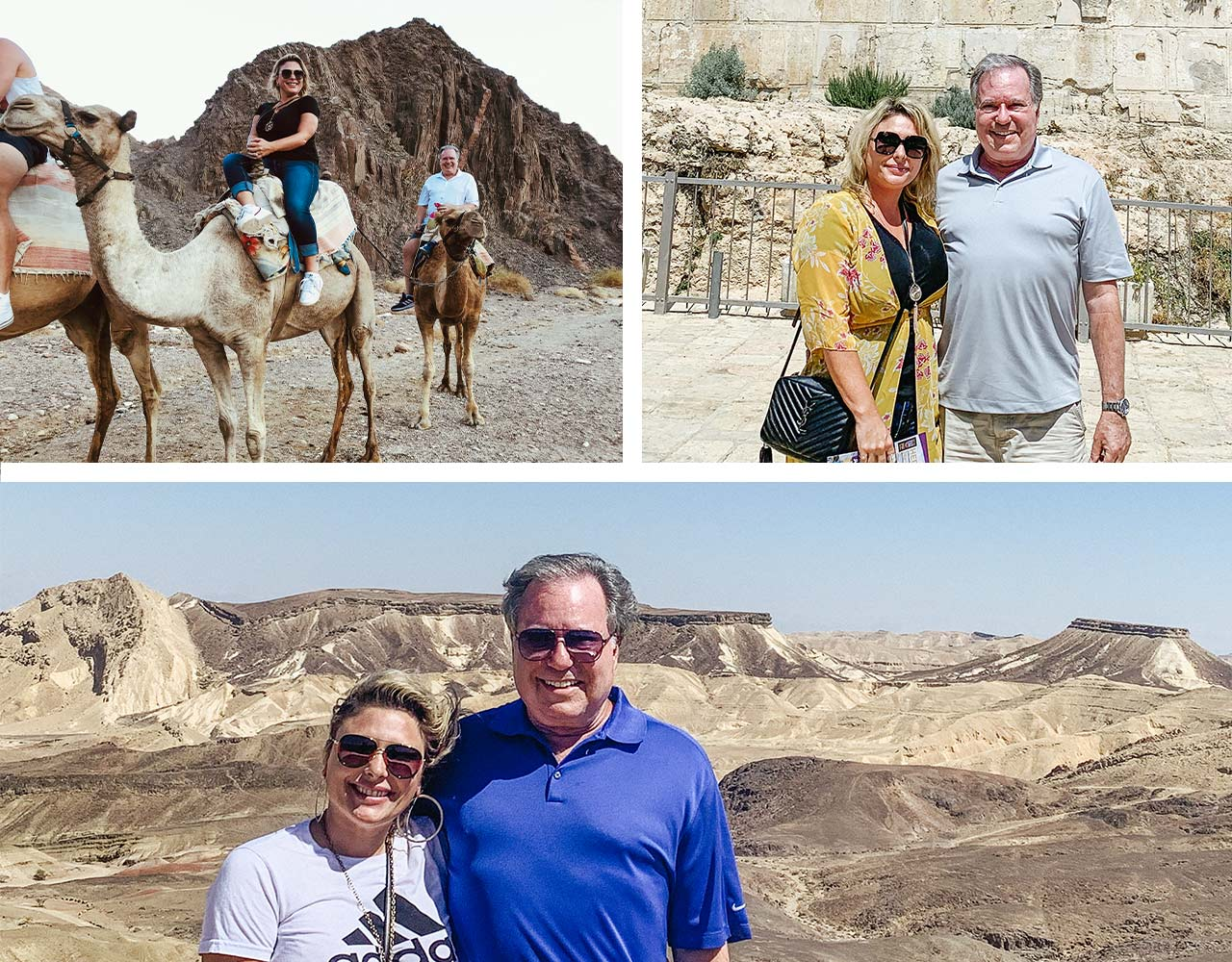 A collage of photos of Bob Schuckit in Jerusalem and the Negev