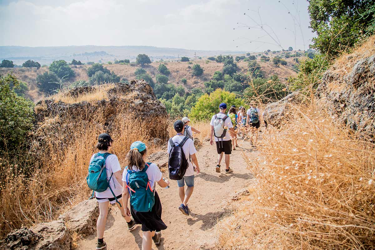 Birthright Israel participants hiking in northern Israel.